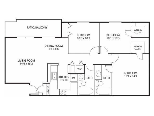Mallard Ridge Apartments in Maple Grove, MN 3 Bedroom 2 Bathroom