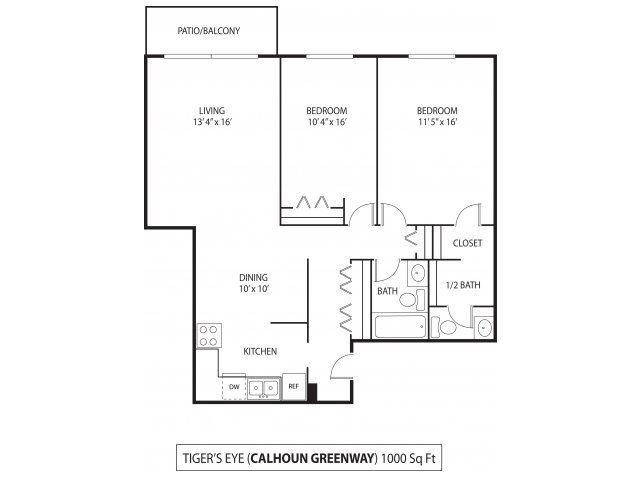 The Calhoun Greenway Apartments in Minneapolis, MN 2 Bedroom 1.5 Bath