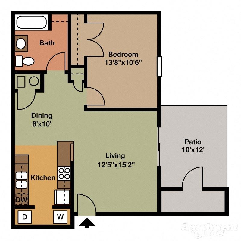 1 Bed, 1 Bath Floor Plan at Shenandoah Properties, Lafayette, IN