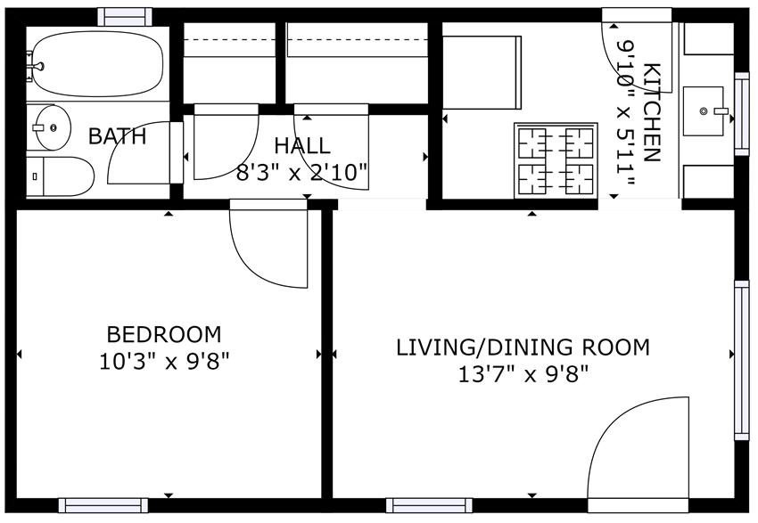 Darlington Court Apartments | Los Angeles, CA | Studio Floorplan