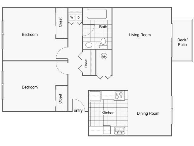 Two Bedroom, One Bathroom