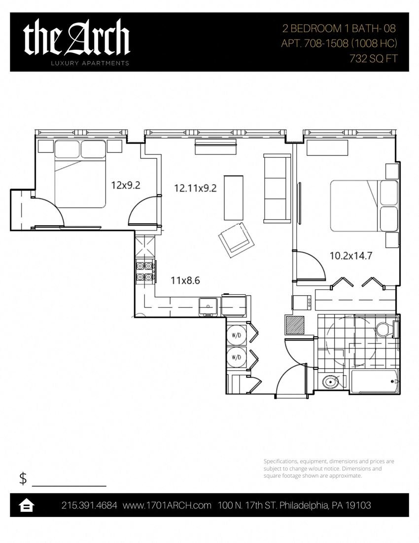 2 Bedroom / 1 Bath 08 Layout