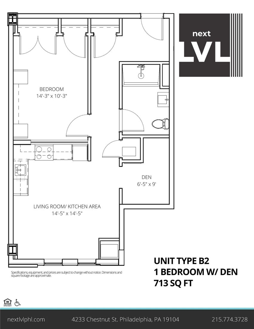 Next LVL in University City Luxury One Bedroom with Den Apartment