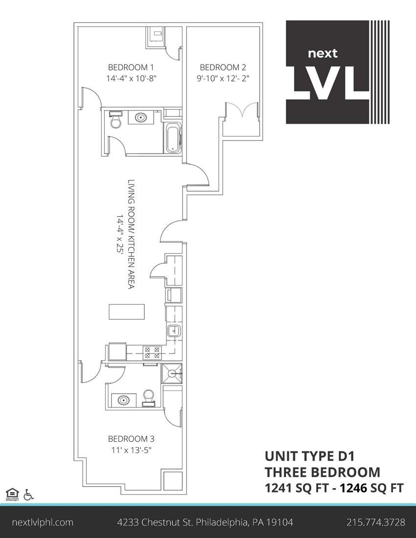Next LVL in University City Luxury Three Bedroom Apartment