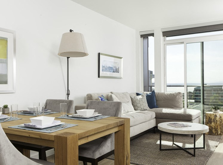 4730 California Apartments Model Living Room and Window