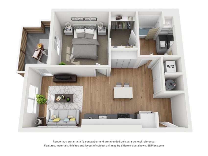 Indigo Apartments A2 3D Floor Plan