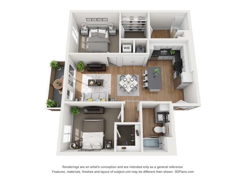 Indigo Apartments B1  3D Floor Plan