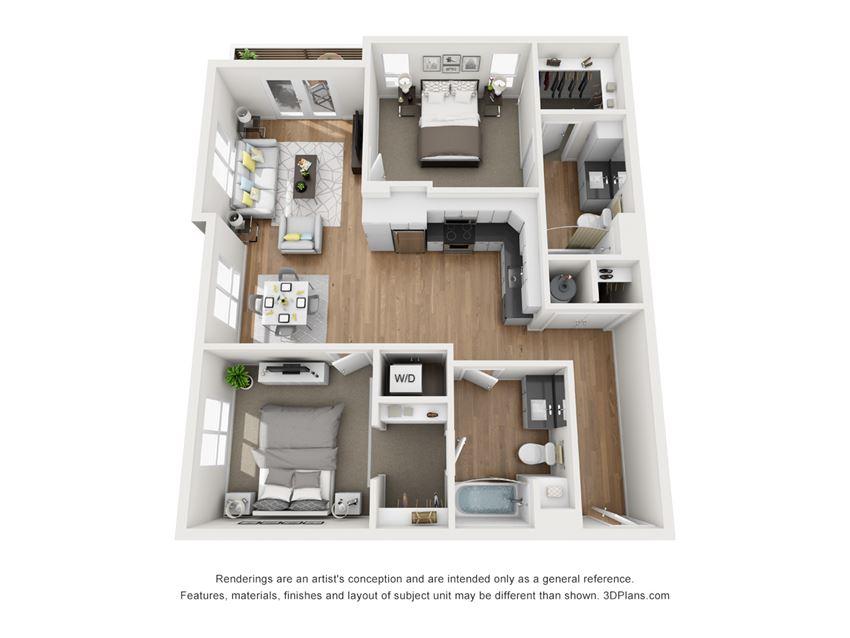 Indigo Apartments B2 3D Floor Plan