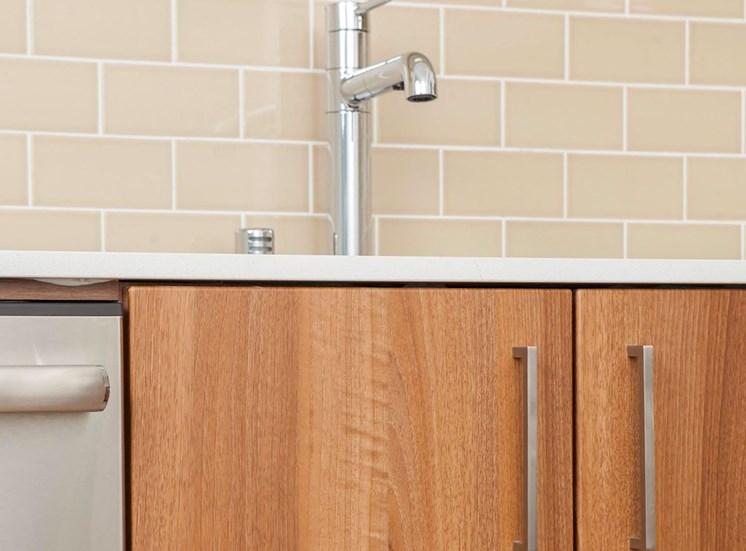 4730 California Apartments Kitchen Glass Tile Backsplashes