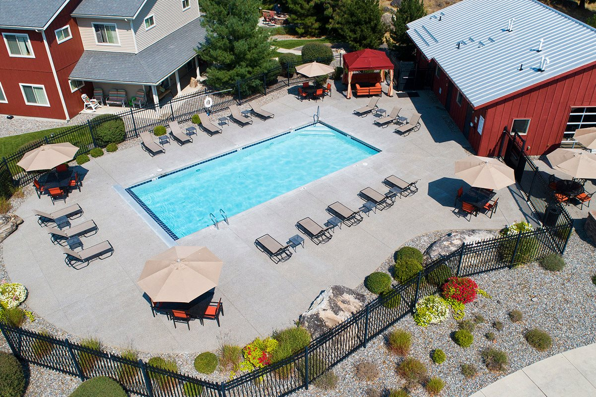 Pine Valley Ranch Apartments Community Pool and Patio Aerial View