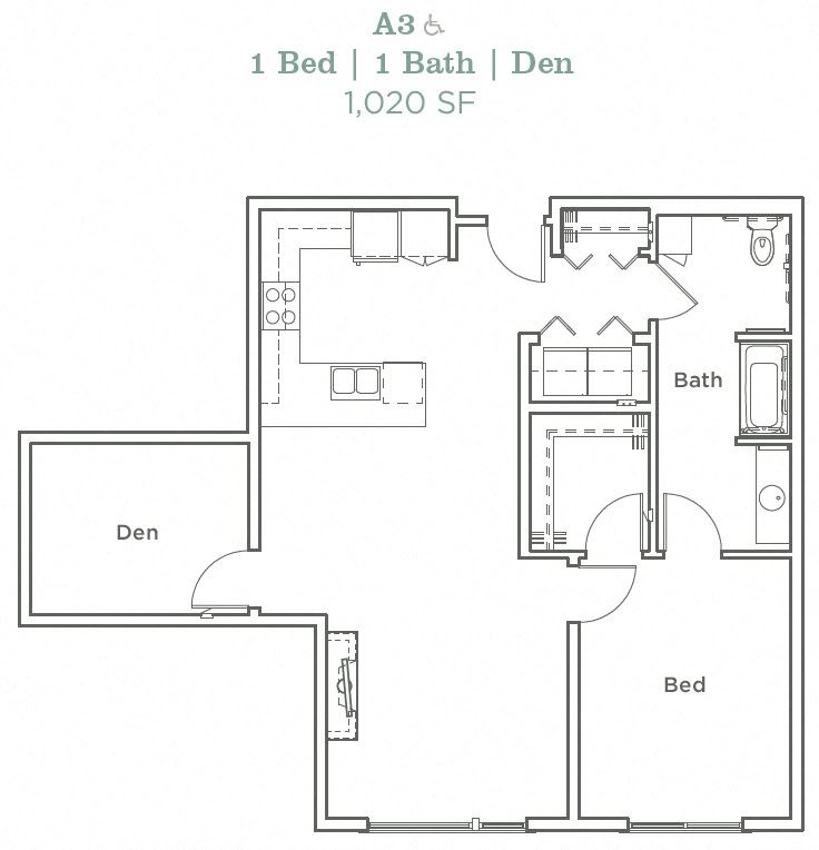 Portera at the Grove_Wilsonville OR_Floor Plan A3_One Bedroom One Bathroom