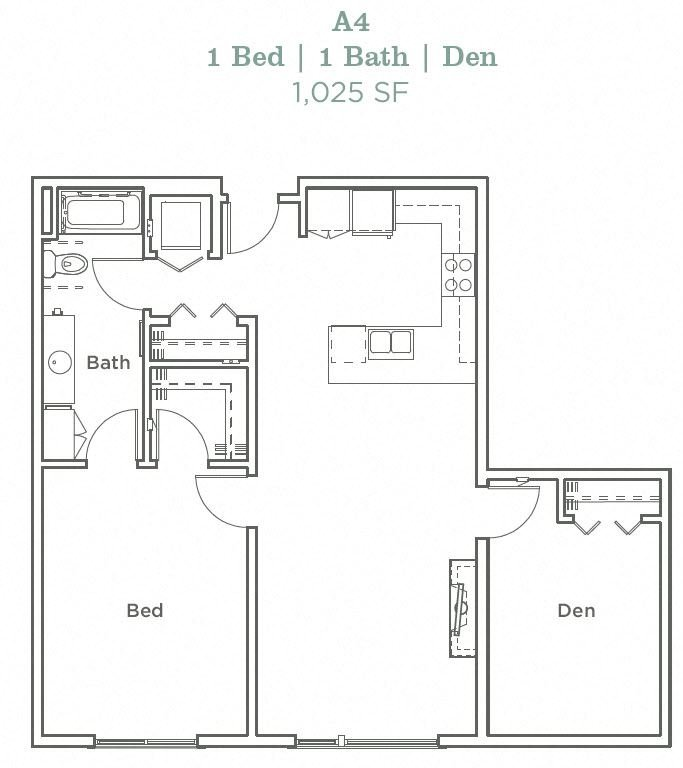 Portera at the Grove_Wilsonville OR_Floor Plan A4_One Bedroom One Bathroom
