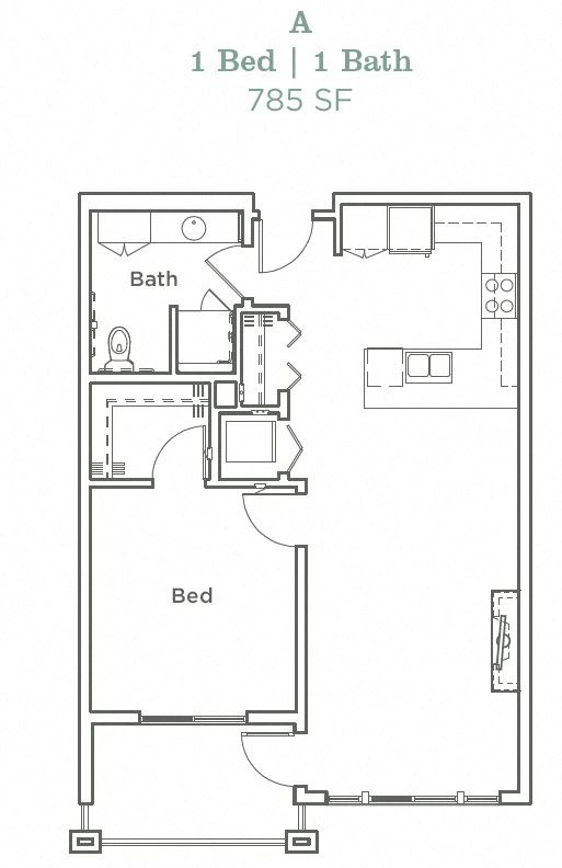 Portera at the Grove_Wilsonville OR_Floor Plan A_One Bedroom One Bathroom