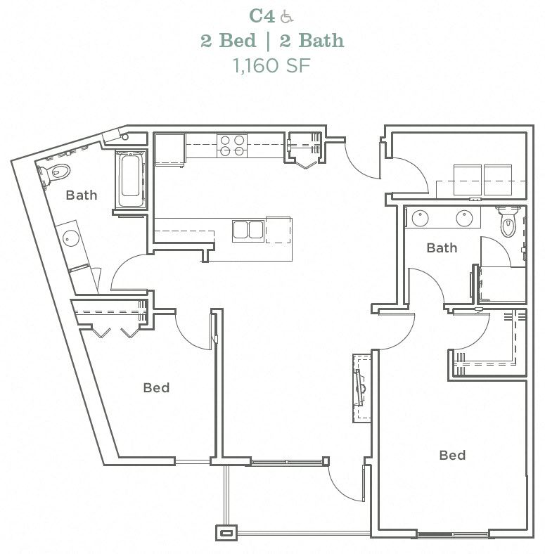 Portera at the Grove_Wilsonville OR_Floor Plan C4_Two Bedroom Two Bathroom
