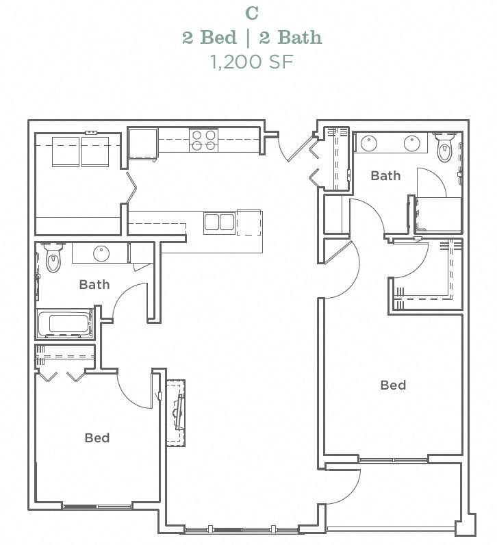 Portera at the Grove_Wilsonville OR_Floor Plan C_Two Bedroom Two Bathroom