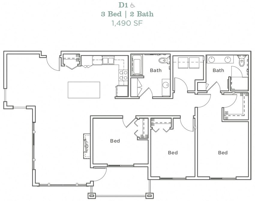 Portera at the Grove_Wilsonville OR_Floor Plan D1_Three Bedroom Two Bathroom