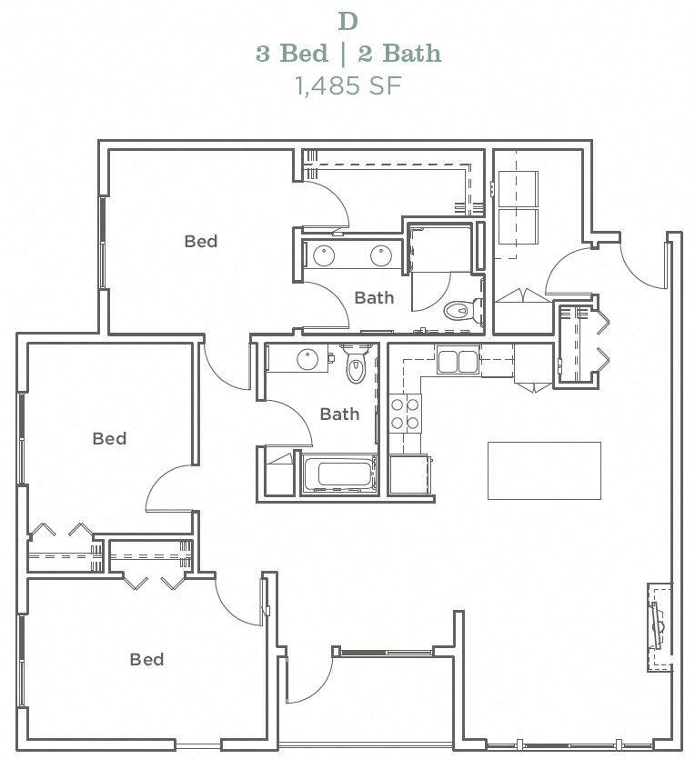 Portera at the Grove_Wilsonville OR_Floor Plan D_Three Bedroom Two Bathroom