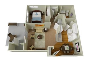 River House Apartments Spokane Valley, Washington One Bedroom One Bath 3D Floor Plan