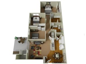 River House Apartments Spokane Valley, Washington Three Bedroom Two Bath 3D Floor Plans