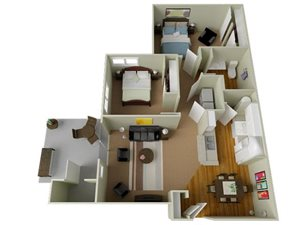 River House Apartments Spokane Valley, Washington Two Bedroom One Bath 3D Floor Plans