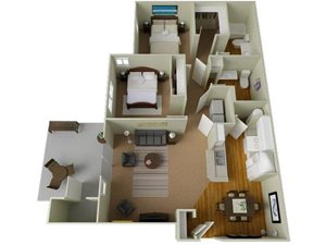 River House Apartments Spokane Valley, Washington Two Bedroom Two Bath 3D Floor Plans