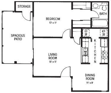 A1: 1 Bedroom - 1 Bathroom | 630 sq. ft.