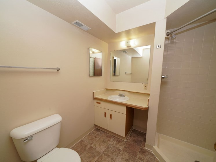 Second Bathroom with Shower at Hurwich Farms Apartments in South Bend, IN