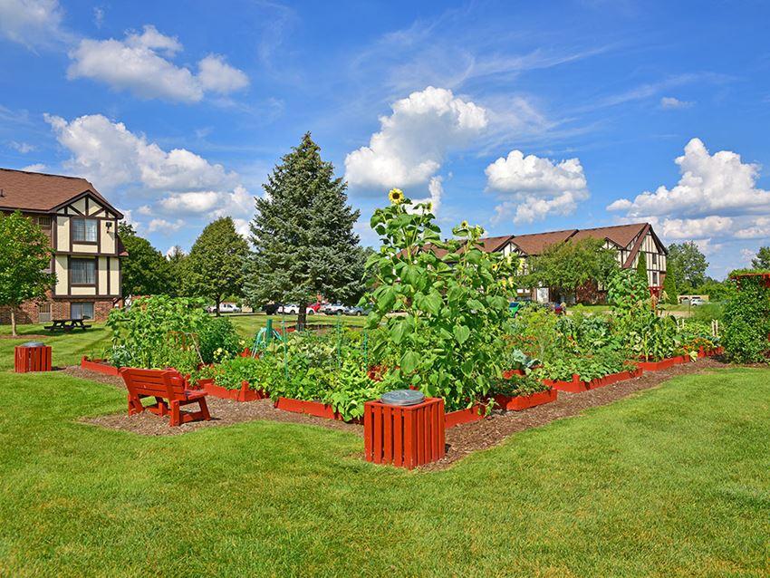 Beautiful Garden Setting at Charter Oaks Apartments, Michigan