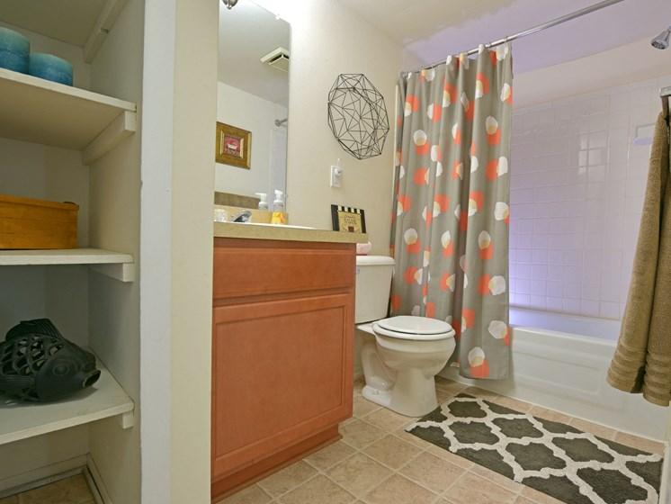 Bathroom with Storage Spaces at Sycamore Creek Apartments, Orion, MI