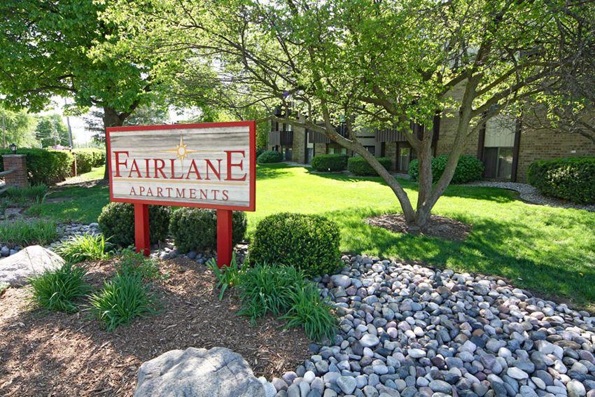 Entrance Signage at Fairlane Apartments, Springfield, 49037
