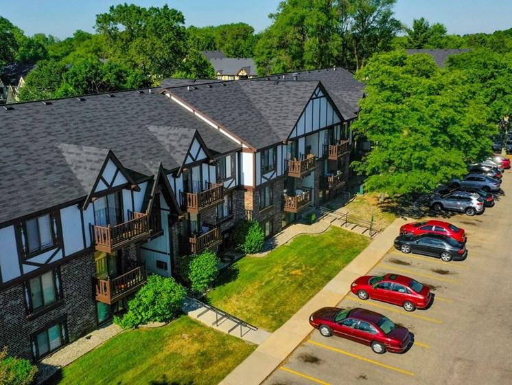 Aerial Exterior View at Fairlane Apartments, Springfield, Michigan