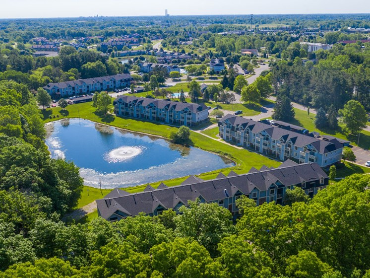 Aerial view of Canal Club Apartments in Lansing, MI