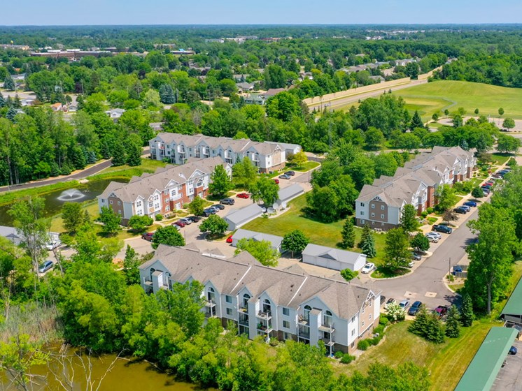 Beautiful Aerial View of Canal 2 Apartments in Lansing, MI