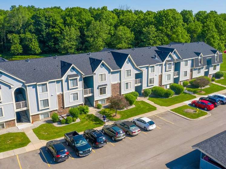 Aerial View of Building at Canal Club Apartments in Lansing, MI