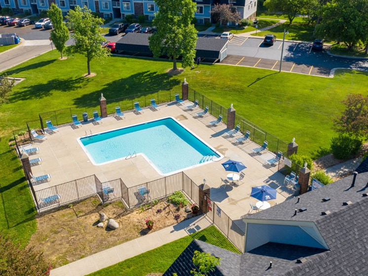 Aerial View of Access to Outdoor Pool at Canal 2 Apartments, Lansing
