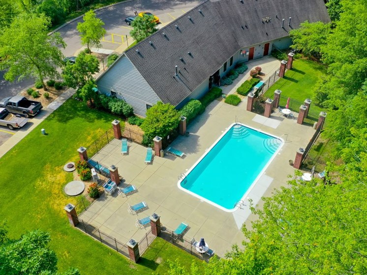 Aerial View of Pool with Large Sundeck at Glenn Valley Apartments, Battle Creek, 49015