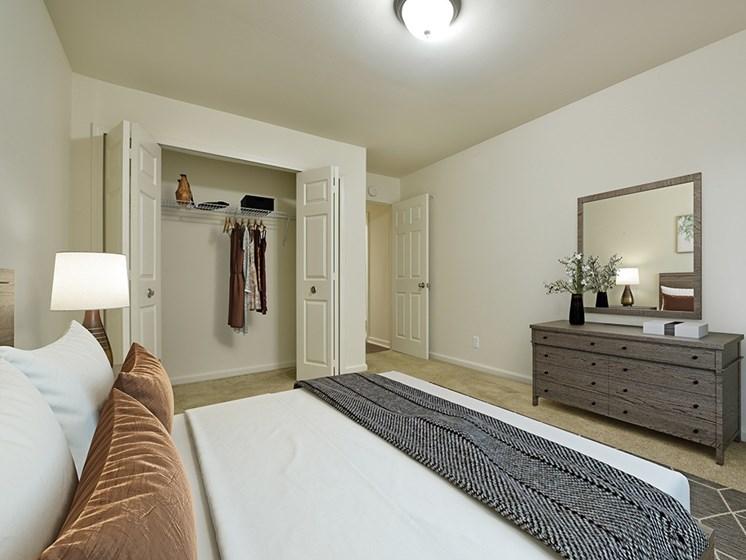 Bedroom With Closet at Grand Bend Club Apartments, Grand Blanc, MI