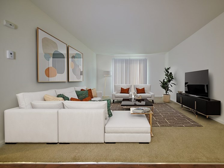 Living Room With Television at Grand Bend Club Apartments, Michigan, 48439
