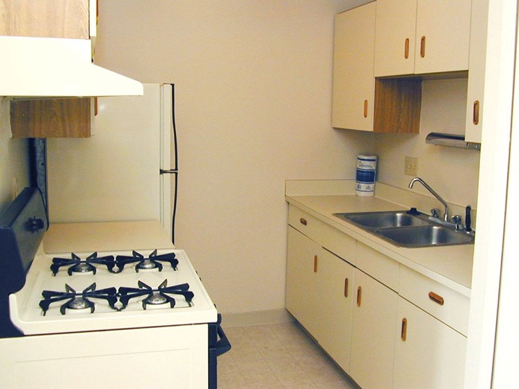 Stainless Steel Sink With Faucet In Kitchen at Hickory Village Apartments, Indiana, 46545
