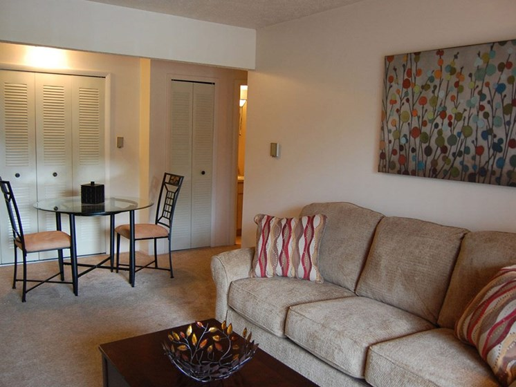 Modern Living Room at Hickory Village Apartments, Indiana
