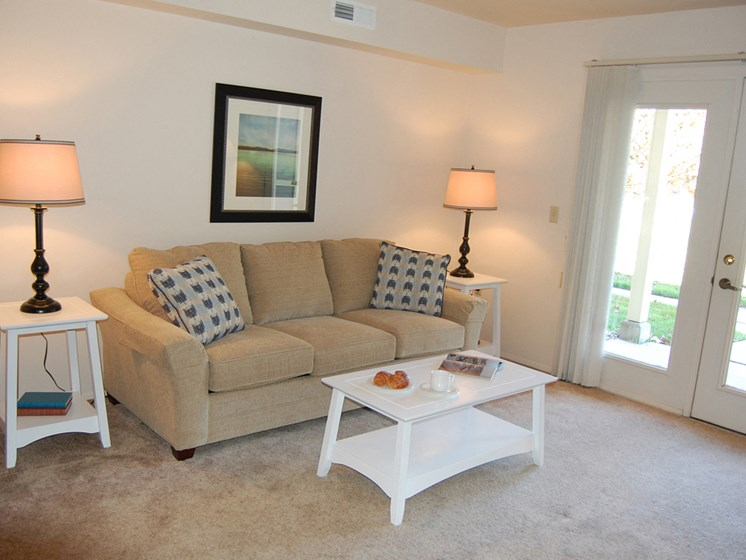 Carpeted Living Rooms at Hurwich Farms Apartments, IN 46628