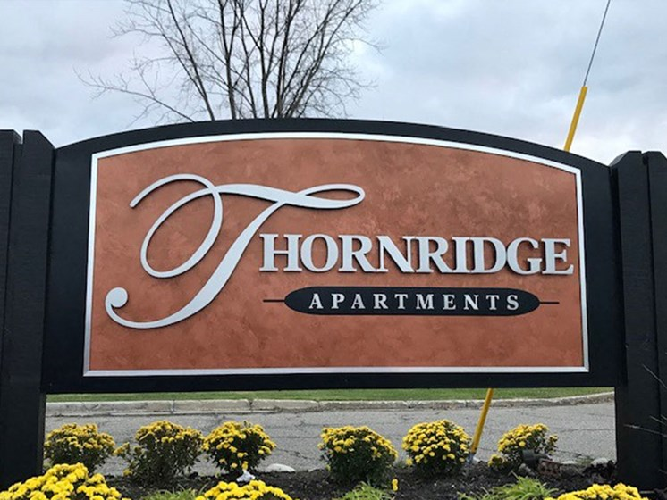 Entrance Sign at Thornridge Apartments, Michigan