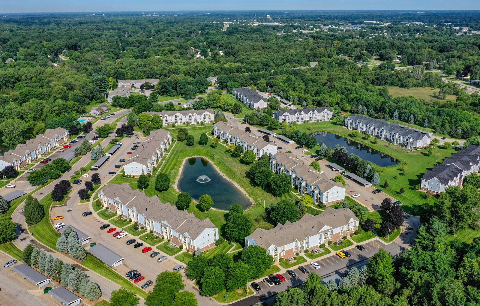 Aerial View Of The City at Arbor Lakes Apartments, Elkhart