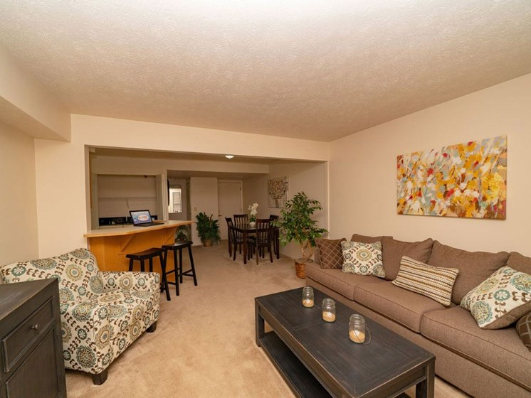 Living Room with Kitchen View at Arbor Lakes Apartments, Elkhart, 46516