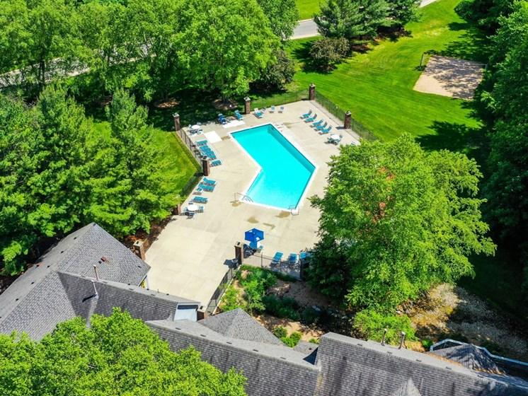 Aerial View Of Pool at Byron Lakes Apartments, Michigan, 49315