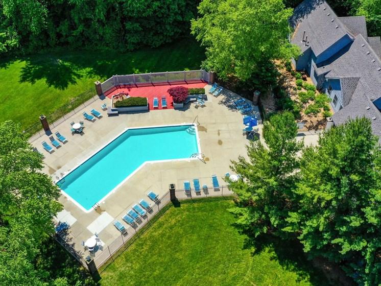 Aerial View Of The Pool at Byron Lakes Apartments, Michigan