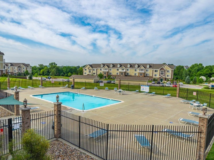 Pool With Large Sundeck at Colonial Pointe at Fairview Apartments, Nebraska