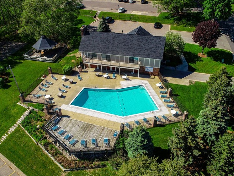 Aerial View Of Pool at Concord Place Apartments, Kalamazoo, MI