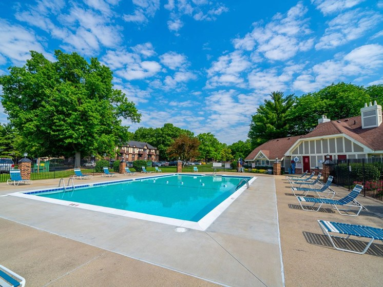 Poolside Relaxing Area at Hickory Village Apartments, Indiana, 46545