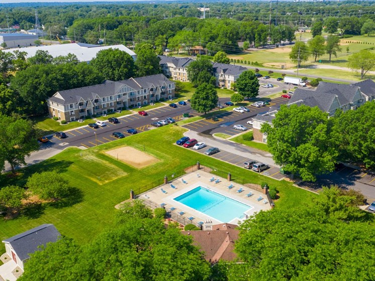 Aerial View Of The Community at Hickory Village Apartments, Mishawaka